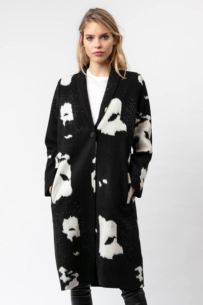 RELIGION BUTTONED BUFFALO PRINT WOOL BLEND 3/4 LENGTH COAT 70HCTJ92260