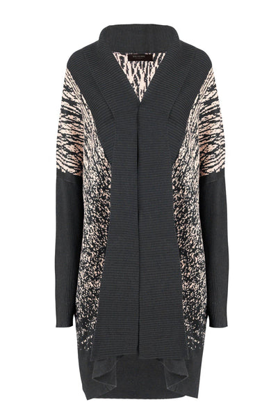 RELIGION KNITTED ABSTRACT PRINT MID LENGTH FOLDED COLLAR CARDIGAN 70HPSC28829