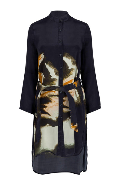 RELIGION LOOSE ABSTRACT PRINT LONG SLEEVE BELTED DRESS 70ISKH59111