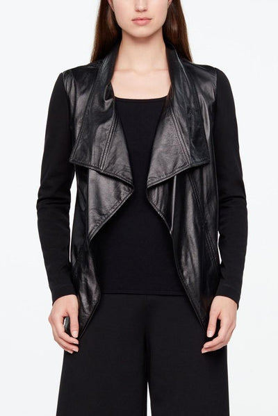 SARAH PACINI LEATHER WATERFALL STRETCH LONG SLEEVE BLACK JACKET 99213574