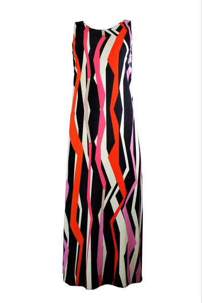 1 ONE COLLECTION HIGH NECK COLUMN GEO PRINT MAXI DRESS Z0105-0128