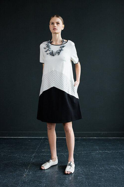 SHIFT DRESS BLACK & WHITE NY77 20046 - Lizardfashion
