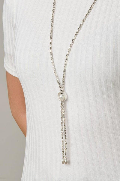 UNO DE 50 LONG DIAMOND CENTRE PEARL NECKLACE COL1396