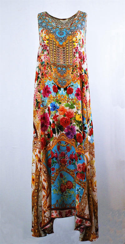 INOA SILK V-NECK FLARED HEM PRINTED MAXI DRESS Ref: FMD