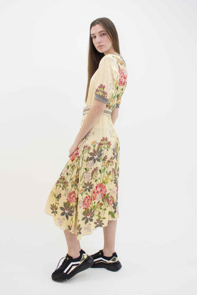 BEATE HEYMANN SHORT SLEEVE FLORAL WITH BELT DRESS 209-25