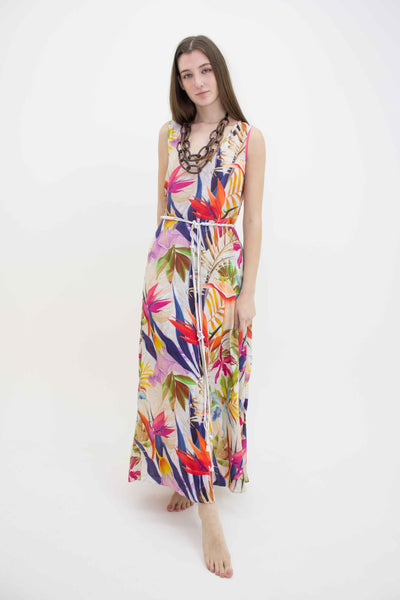 INOA SLEEVELESS LOW NECK PARADISE MAXI DRESS LINEN