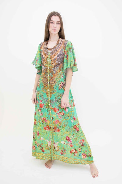 INOA WIDE V-NECK FLARE SLEEVE BUTTON MAXI DRESS GREEN