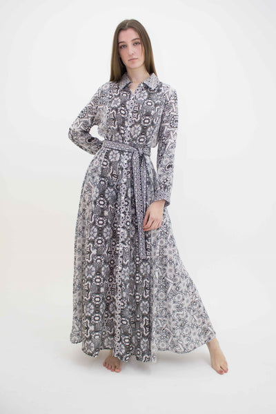 INOA BUTTON DOWN MORROCAN PRINT MAXI DRESS FREYA