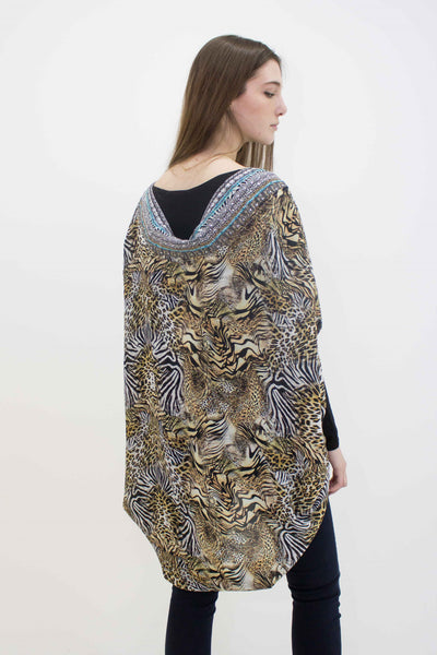 INOA ROUNDED CRYSTAL DETAIL ANIMAL SHRUG SAVANNAH