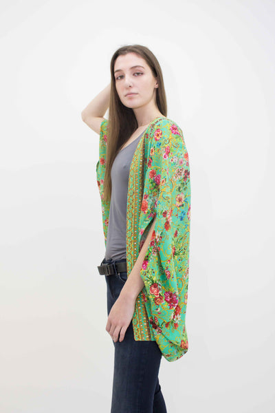 INOA ROUNDED CRYSTAL DETAIL GREEN SHRUG CHARTEUSE