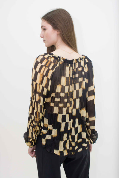 BEATE HEYMANN LONG SLEEVE SQAURE PRINT SHIRT 225-27
