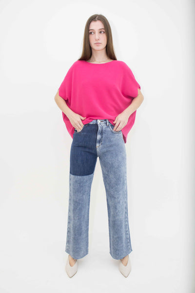 BEATRICE B WIDE LEG JEANS WITH DARK PANEL 21FE1488STONE-550