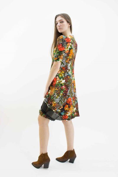 BEATE HEYMANN SHORT SLEEVE FLORAL PRINT JERSEY DRESS 258-10