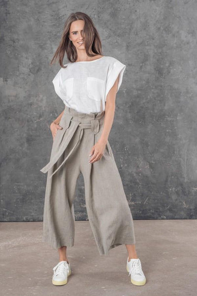 LUIS LINEN CROPPED TROUSERS SL21830 - Lizardfashion