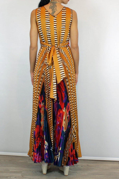BEATRICE B MAXI PLEATED DRESS WITH TROPICAL PRINT 19FE6004AZ230 - Lizardfashion