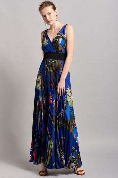 BEATRICE B, MAXI PLEATED DRESS WITH LEAF PRINT 19FE605445231