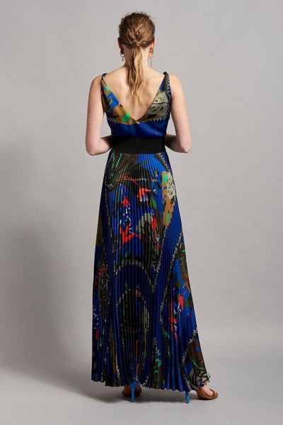 BEATRICE B, MAXI PLEATED DRESS WITH LEAF PRINT 19FE605445231 - Lizardfashion