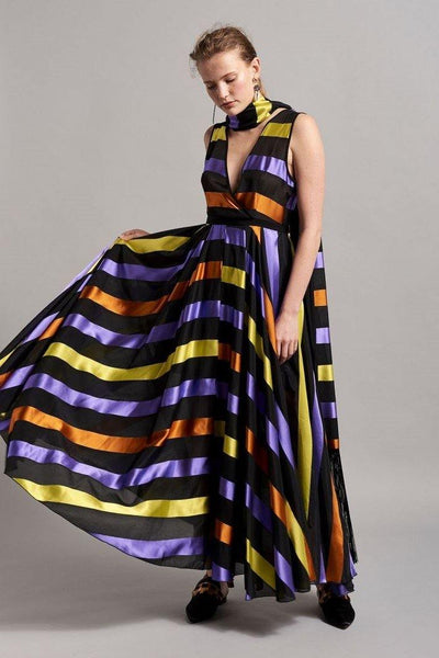 BEATRICE B MAXI DRESS WITH MULTI COLOUR STRIPES