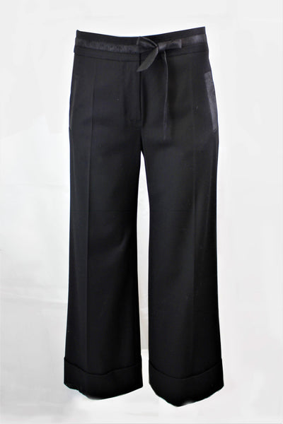 BEATE HEYMANN BLACK CULOTTE CUFFED WIDE TROUSERS 101-1 - Lizardfashion