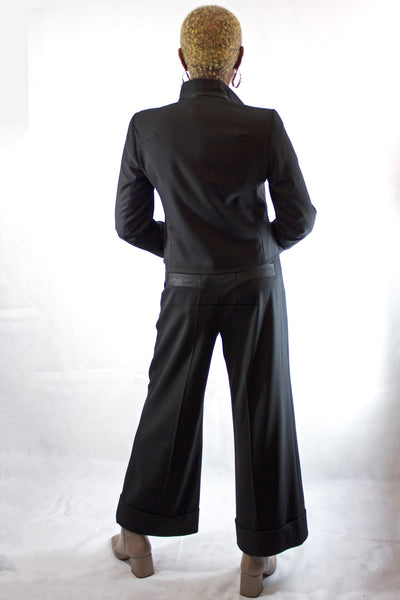 BEATE HEYMANN BLACK CULOTTE CUFFED WIDE TROUSERS 101-1