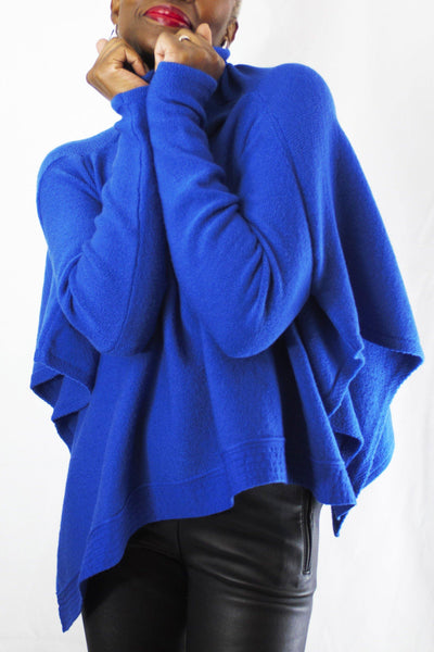 SARAH PACINI ROLL NECK LONG SLEEVE BOX FIT OPEN SIDES ROYAL BLUE PONCHO 20211084