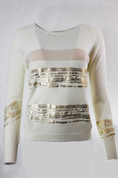 ELISA CAVALETTI FINE KNIT METALLIC BOAT NECK SWEATER 204019902 - Lizardfashion