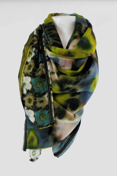 BEATE HEYMANN EXTRA LONG WATERWASH FLORAL PRINT SATIN TRIM SCARF 195-13 - Lizardfashion