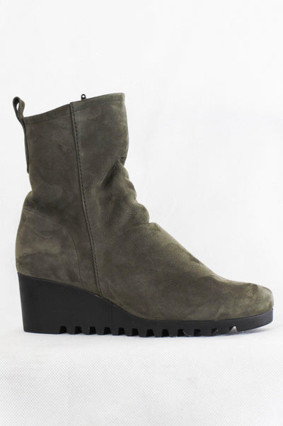 ARCHE MIDI NUNUCK RUBBER WEDGE HEEL ZIP BOOTS LARAZO - Lizardfashion