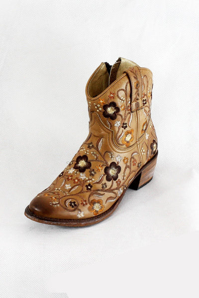 SENDRA EMBROIDERED COWBOY ANKLE BOOTS 10369 - Lizardfashion