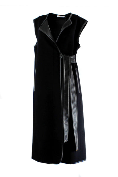 BEATRICE B SLEEVELESS LEATHER TRIM STITCH DETAIL COAT Z0FA5473