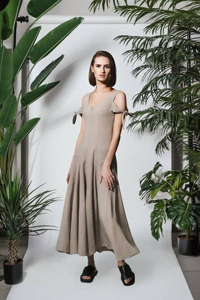 LUEL ALINA LINEN MAXI DRESS SL81718 - Lizardfashion