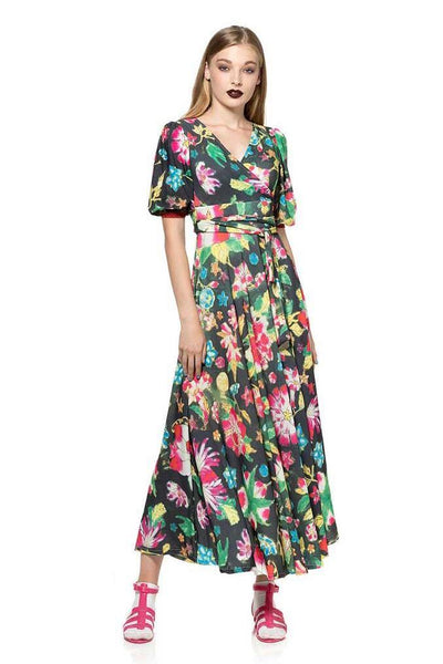 ANIMAPOP MAXI FLORAL V-NECK DRESS P1A310-544