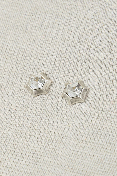 TREATY STARSHAPED CLEAR CYRSTAL SILVER TATUM EARRINGS 1321C