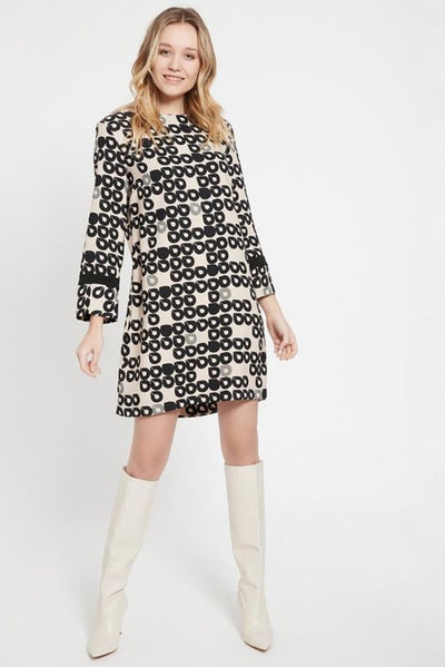 ANA ALCAZAR BOAT NECK TEARDROP PRINT SPLIT SLEEVE SHIFT DRESS 240831-2960-90