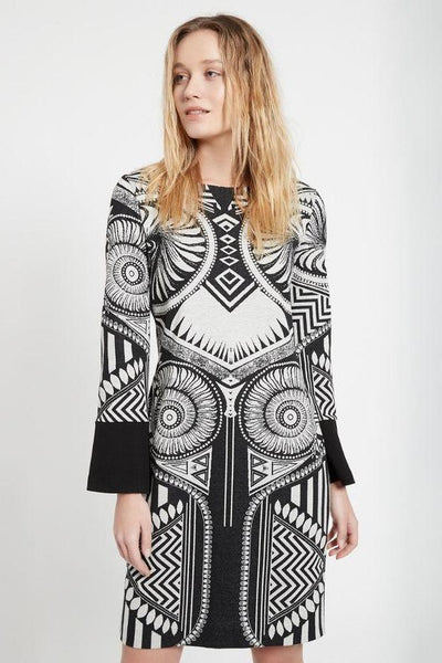 ANA ALCAZAR AZTEC PRINT SOFT KNIT BOAT NECK SHIFT DRESS 048131.2981-910-8