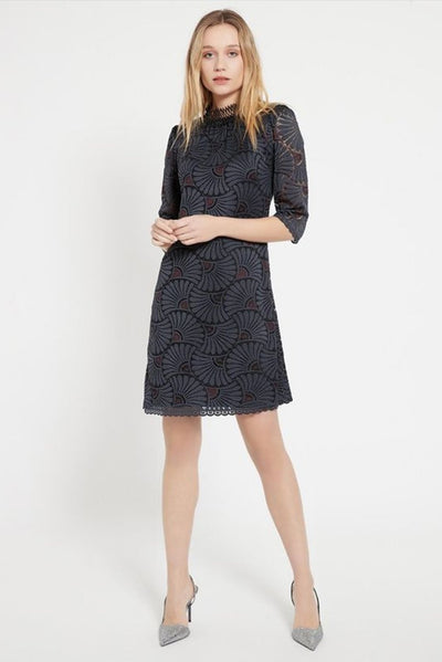 ANA ALCAZAR HIGH NECK LACE HALF SLEEVE HARLEQUIN DRESS 048020-2957-910