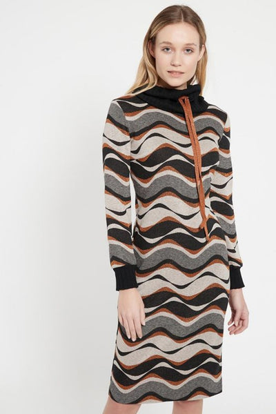 ANA ALCAZAR TURTLENECK FINE KNIT WAVE PRINT TUBE DRESS 048106.2976-910