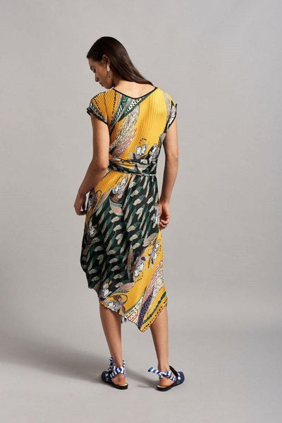 BEATRICE B MIDI PLEATED DRESS WITH TROPICAL PRINT