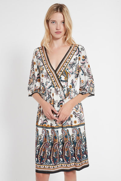ANA ALCAZAR V-NECK PAISLEY PRINT EMPIRE DRESS 048371-3048