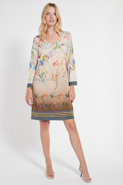 ANA ALCAZAR JERSEY DEEP V GRADIENT FLORAL DRESS 048375-3049