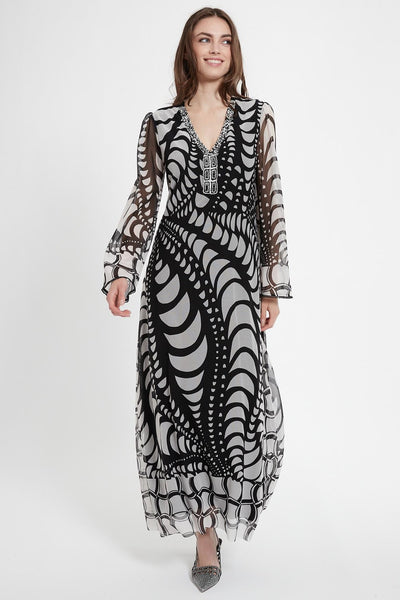 ANA ALCAZAR LONG SLEEVE BEADED MAXI DRESS 048387-3052