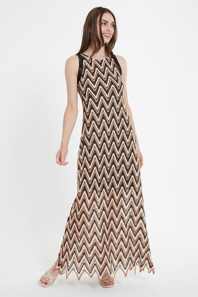 ANA ALCAZAR SLEEVELESS CHEVRON MAXI DRESS 048406-3057