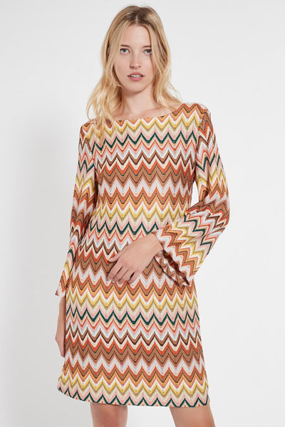ANA ALCAZAR BOAT NECK CHEVRON SHIFT DRESS 048408-3058