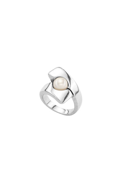 UNO DE 50 SIMPLE BAND PEARL DETAIL RING ANI0596