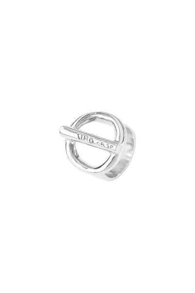 UNO DE 50 CENTRAL BAR ENGRAVED ON/OFF SILVER PLATED RING ANI0626