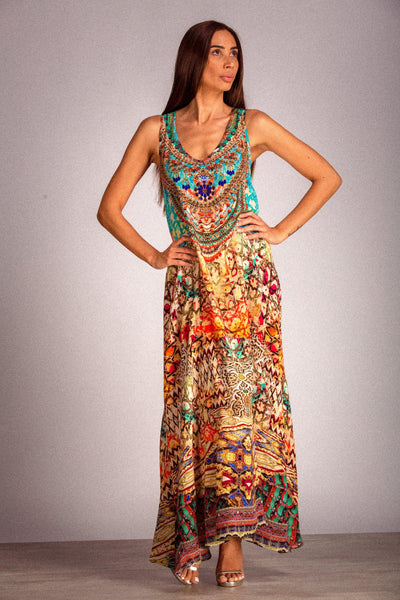 INOA SILK V-NECK FLARED HEM PRINTED MAXI DRESS Ref: FMD - Lizardfashion