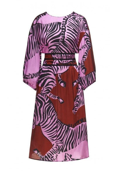BEATRICE B MIDI DRESS SATIN WITH ZEBRA PRINT Ref:19FE69698014 - Lizardfashion