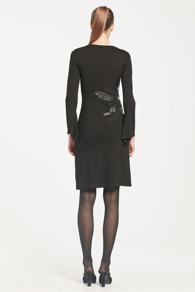 ISABEL DE PEDRO DRESS WITH LEATHER LEAF APPLIQUE