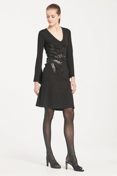 ISABEL DE PEDRO DRESS WITH LEATHER LEAF APPLIQUE - Lizardfashion