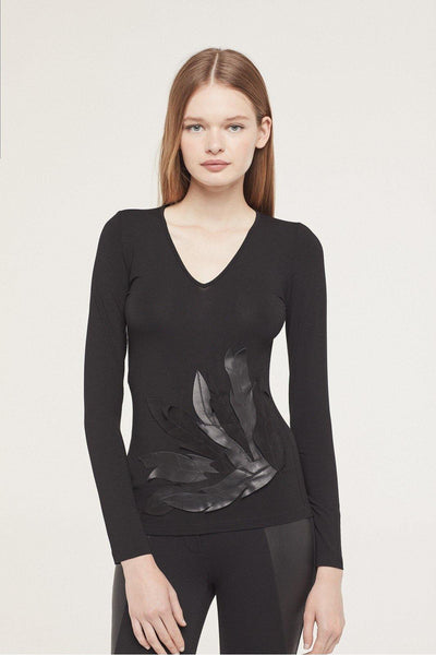 ISABEL DE PEDRO TOP WITH LEATHER LEAVES 1700TP572 - Lizardfashion